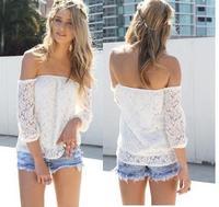2014 fashion summer fashion womens casual tops lace T shirt sexy off shoulder slash neck blusas femininas roupas free shipping