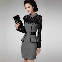 Free shipping in some countries 2014 woolen high waist women's long-sleeve lace basic vestidos autumn winter dress desigual