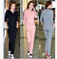 2014 set female slim casual set plus size female sweatshirt sportswear set  for women Sports suit