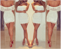 2014 sexy off shoulder cocktail dresses evening party bodycon lace dress vestido de festa curto high street bandage dress
