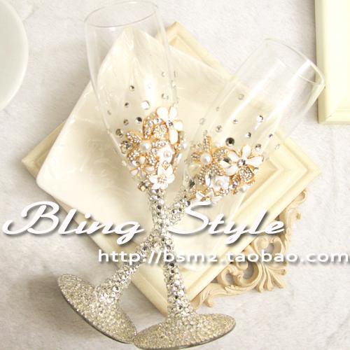Luxury metal pure wedding flowers rhinestone champagne cup wedding wine glass wedding gift(China (Mainland))