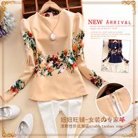 B055 m 2014 autumn brief women's o-neck long-sleeve pleated vintage print slim chiffon shirt