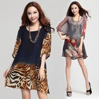 2014 spring women's lantern sleeve loose leopard print chiffon plus size one-piece dress