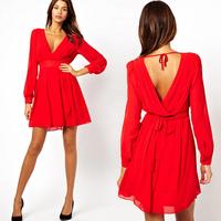 2014 Fashion women's red black white elegant long sleeve deep V neck chiffon one piece dress sexy cocktail-dresses vestidos