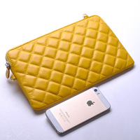 Free shipping 2014 Multifunction  Fashion plaid clutch female genuine leather shoulder cross-body small bags cowhide female bags