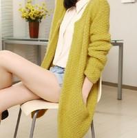 2014 spring and autumn o-neck sweater loose medium-long mohair sweater cardigan women's jacket female