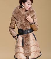 2014 rabbit large fur collar slim belt female medium-long down coat female snow wear winter outcoat down jachet