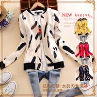 B254 m 2014 autumn women's small stand collar raglan sleeve long-sleeve feather print zipper-up short jacket