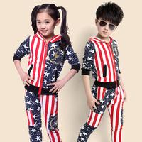 Children's clothing male female child 2014 autumn fashion denim set little girl boy long-sleeve casual sportswear