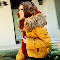2014 winter down coat female short design thickening big raccoon fur plus size slim women's outcoat snow wear
