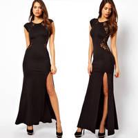 2014 sexy black lace party cocktail dresses women slim cut out one piece long dress formal dress vestido de festa curto