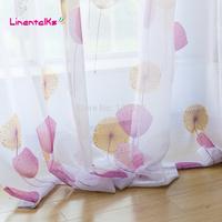 fresh print window screens fashion brief rustic balcony finished product flower curtain yarn