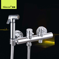 Brass Material High Quality Healthy Faucet /Ablution Set With Hot And Cool Faucet + 1.5M Shower Hose + Shower Wall Holder f101