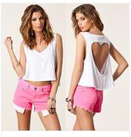 2014 New European cotton T shirt heart hollow out bustier crop short design women's sexy tops short vest blusa 6 colors