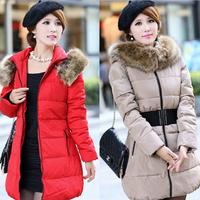 Free Shipping 2014 New Fashion Down Coat For Women Slim Medium-Long Thickening Winter Jacket Women Large Fur Collar Outerwear