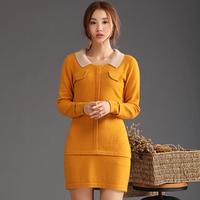 Gold marten velvet 2014 o-neck sweater female mink sweater medium-long cashmere sweater basic sweater slim