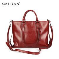 Smilyan 2014 new vintage gradient high quality genuine leather women handbags fashion genuine leather shoulder bag for women