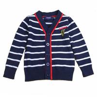 Stripe 100% cotton cardigan children's clothing basic shirt sweater 120cm V 110cm90cm collar