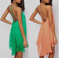 Fashion sexy spaghetti strap back metal buckle cross cutout sleeveless solid color chiffon one-piece dress 2014 summer