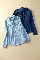 Denim shirt female long-sleeve 2014 fashion cool shirt medium-long