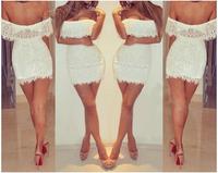 2014 fashion sexy white lace party dresses nightclub robe de cocktail vestido de festa curto fress shipping