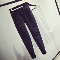 Fashion women's flower black tight-fitting denim trousers