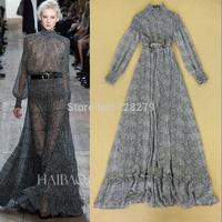 Fashion Autumn 2014 elegant ruffle hem expansion bottom formal dress full dress evening dress one-piece dress