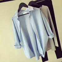 Fashion women's loose casual blue vertical stripes shirt