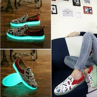 New fashion men's casual shoes shoes luminescent phosphor plate sports shoes . Free Shipping