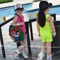 Ploughboys male female child clover sleeveless vest shorts sports set 0041