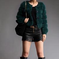 Short design plush marten velvet cardigan outerwear women's mink long-sleeve o-neck sweater