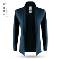 Green male long-sleeve T-shirt men's clothing 2014 autumn slim 100% thin cotton outerwear cool cardigan