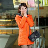 2014 Fashion Slim Medium-Long White Duck Down Coat For Women Hood Thickening Winter Jacket Women Warm Down Jacket Outerwear
