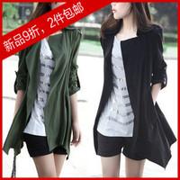 2014 autumn women's fashion women's medium-long plus size long-sleeve trench outerwear hot-selling