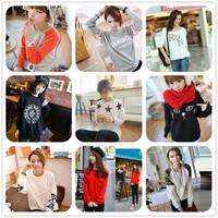 2014 autumn and winter thickening loose women's o-neck print women's sweatshirt