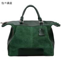Free shipping 2014 New fashion natural suede leather women's tote bag genuine leather shoulder handbag nubuck green big bag
