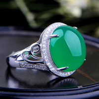 Natural green chalcedony ring 925 pure silver green agate ring women's gem lovers finger ring