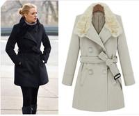 2014 winter women's  fashion rabbit fur collar coat  jacket slim overcoat woolen outwear free shipping C1666