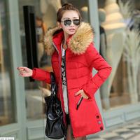 2014 New Fashion Thickening Wadded Winter Jacket Women Large Fur Collar Medium-Long White Duck Down Coat Plus Size 4XL VSA1568