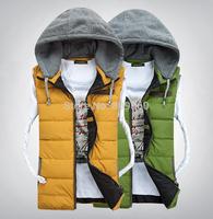 2014 winter slim male hooded outerwear men popular down vests