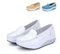Swing genuine leather white nurse shoes 2014 women's wedges shoes autumn single platform shoes