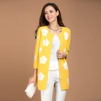 White small flower ultra soft medium-long marten velvet outerwear cardigan trench overcoat mink sweater