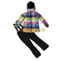 Child male female child outdoor thickening windproof fleece lining parent-child ski suit set cotton-padded jacket trousers