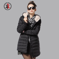 2014 autumn and winter medium-long fashion slim with a hood down coat female