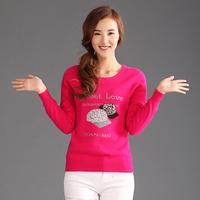 Gold women's short design o-neck marten velvet sweater mink knitted sweater slim basic cashmere sweater