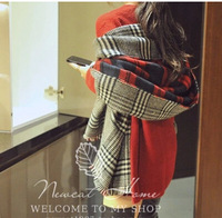 Autumn and winter ultra long dual-use double faced scarf air conditioning cape big shawl thickening thermal plaid muffler scarf