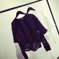 Fashion female lace patchwork short design casual solid color sweatshirt