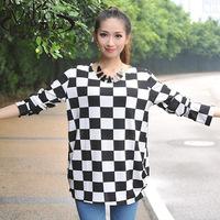 2014 geometry chart plus size clothing cashmere dress cashmere loose t-shirt basic shirt long-sleeve t-shirt