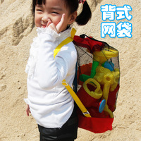 novelty Large multifunctional back type mesh bag black shoulders back pockets of beach toys toys don't have to worry about more.