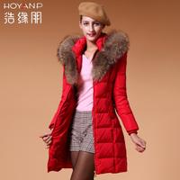 2014 medium-long down coat thickening slim women's large fur collar